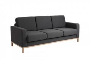 Canapea extensibila neagra din poliester si lemn pentru 3 persoane Scandic Carbon Custom Form