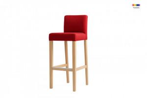 Scaun bar rosu din poliester si lemn Wilton Red Custom Form