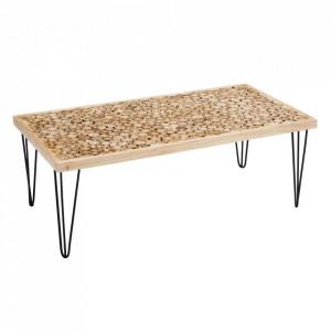 Masa maro/neagra din fier si lemn de tec pentru cafea 65x124 cm Luliona Ixia
