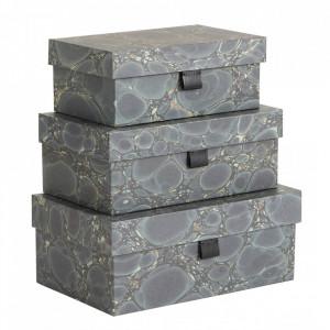 Set 3 cutii verzi din carton si poliuretan Green Mosaic Document Three Nordal
