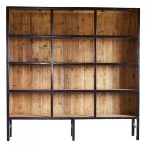 Biblioteca neagra/maro din lemn 230 cm Bellport Large LifeStyle Home Collection