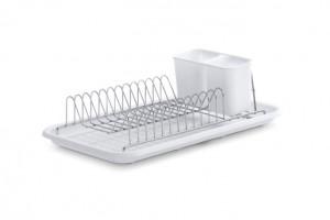 Suport argintiu/alb din metal si plastic pentru vase Kitchen Drainer Zeller