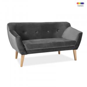 Canapea gri din catifea si lemn 139 cm Bergen Signal Meble