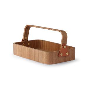 Cutie cu maner maro din lemn si piele Willow Box HK Living