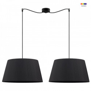 Lustra neagra din textil si otel cu 2 becuri Kami Black Double Big Sotto Luce