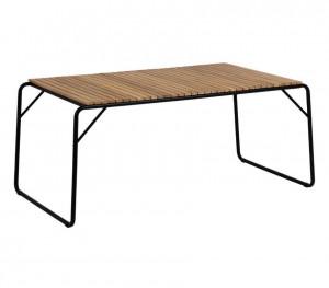 Masa dining neagra/maro din lemn de salcam si otel pentru exterior 90x165 cm Yukai La Forma