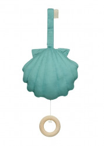Decoratiune muzicala suspendabila din bumbac pentru copii Sea Shell Canal Green Cam Cam