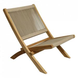 Scaun lounge crem/maro din lemn si sfoara pentru exterior Ropa Raw Materials