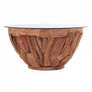 Masuta transparenta/maro din sticla si lemn pentru cafea 90 cm Tsumeb Vical Home