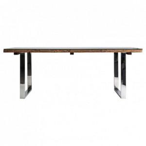 Masa dining maro/argintie din lemn si metal 100x210 cm Dren Vical Home