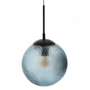 Lustra albastra din sticla si metal Oscuro Round Ixia