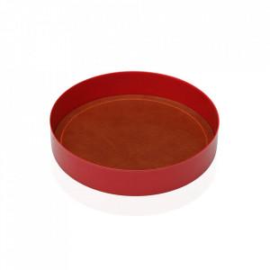 Tava decorativa rotunda rosie/maro din metal 15,5 cm Plate Red Leather Versa Home