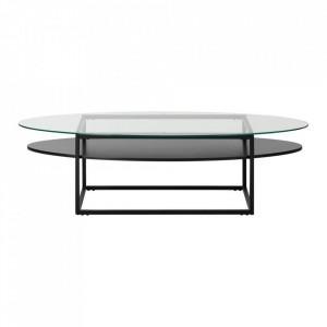 Masa transparenta/neagra din sticla si metal pentru cafea 60x140 cm Loke Actona Company