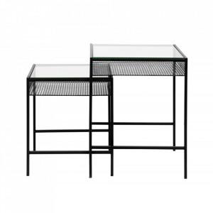 Set 2 masute transparente/negre din sticla temperata si metal Rona Nordal