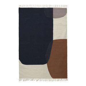 Covor din lana 200x140 cm maro/negru Kelim Merge Ferm Living