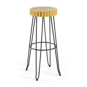 Scaun de bar din metal si lemn galben Evento La Forma
