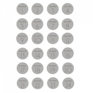 Set 24 stickere gri din hartie Calendar Bloomingville