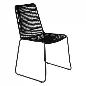 Scaun dining negru din fier si sfoara pentru exterior Okopo Raw Materials