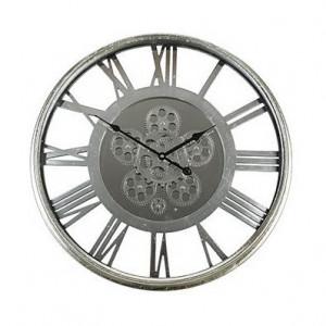 Ceas rotund argintiu din aluminiu si sticla pentru perete 54 cm Jax Richmond Interiors