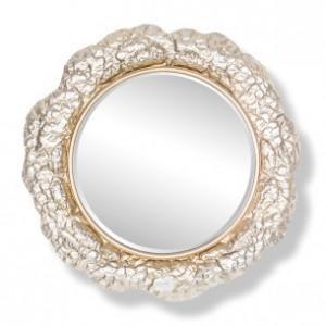 Oglinda rotunda argintie din fier si MDF pentru perete 79 cm Chadd Richmond Interiors