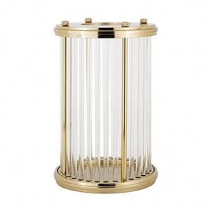 Suport auriu din aluminiu si sticla pentru lumanare 39,5 cm Elwyn Richmond Interiors