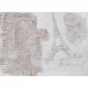 Tablou multicolor din canvas si lemn 90x120 cm Eiffel Tower Ter Halle