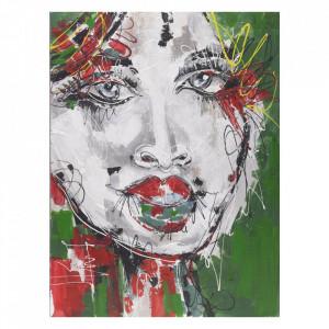 Tablou multicolor din canvas si lemn 90x120 cm Samira Ter Halle