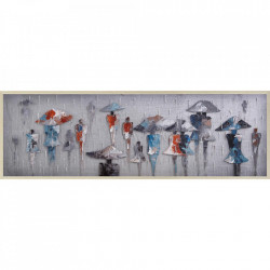 Tablou multicolor din canvas si lemn 50x150 cm People Ter Halle
