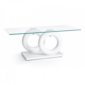 Masa transparenta/alba din sticla pentru cafea 60x110 cm Julien Bizzotto