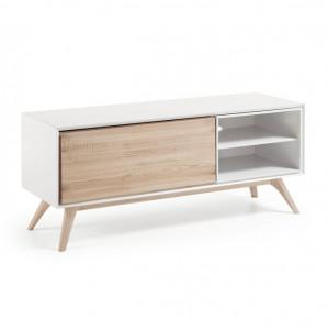 Comoda TV din lemn si MDF alb mat 134 cm Quatre La Forma