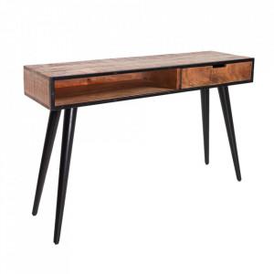 Consola maro/neagra din lemn de mango si metal 120 cm Industrial Invicta Interior