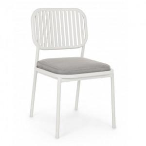 Scaun dining alb/gri din aluminiu si polipropilena pentru exterior Rodrigo Bizzotto