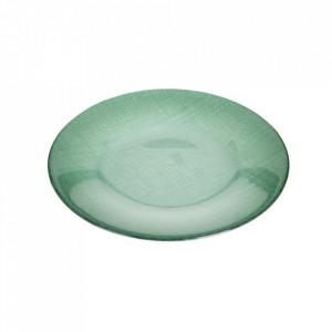 Farfurie albastra din sticla pentru desert 21,5 cm Caffia Ixia