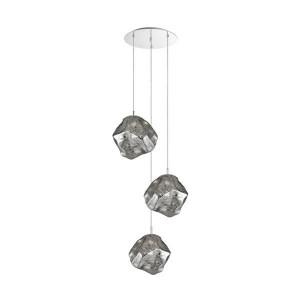 Lustra argintie din metal si sticla cu 3 becuri Rock Design Zuma Line