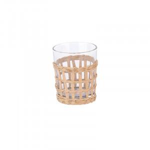 Pahar transparent/crem din sticla si hartie 8x10 cm Chiko LifeStyle Home Collection