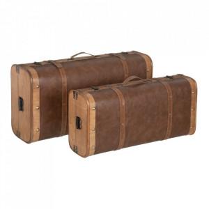 Set 2 cutii tip valiza maro din lemn si poliuretan Ladia Ixia