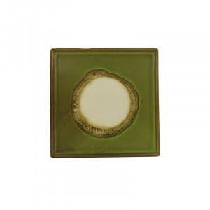Tava patrata verde din ceramica 20x20 cm Linn LifeStyle Home Collection