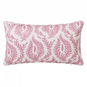 Perna decorativa dreptunghiulara roz/alba din poliester 30x50 cm Cindy Unimasa