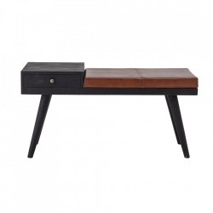 Bancheta maro/neagra din lemn si piele 100 cm Filucca Bloomingville