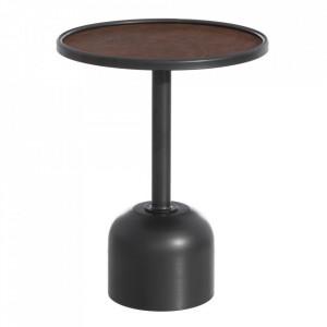 Masuta rotunda neagra/maro din fier si poliuretan 40 cm Takum Ixia