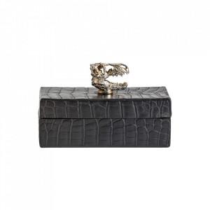 Cutie cu capac neagra/argintie din rasina Crocodile Vical Home