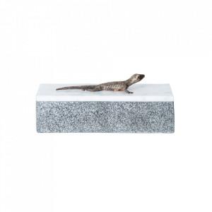 Cutie cu capac gri/alba din marmura Lizard Ali Vical Home