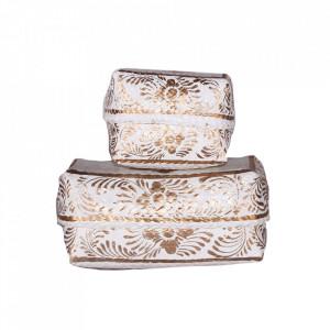 Set 2 cutii cu capac albe/aurii din ratan Alero Vical Home