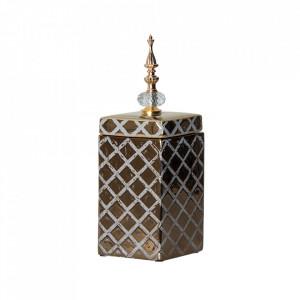 Recipient cu capac alb/auriu din ceramica 15,5x33 cm Davida Vical Home