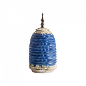 Recipient cu capac albastru din ceramica 17x34 cm Erix Vical Home