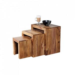 Set 3 masute maro din lemn de palisandru indian Madeira Invicta Interior