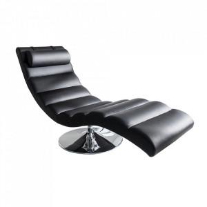 Pat de zi negru din piele si metal 170 cm Relaxo Invicta Interior