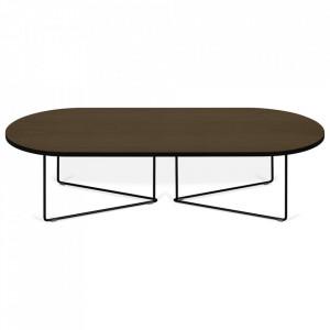 Masuta maro inchis/neagra din lemn si otel 60x136 cm Oval TemaHome