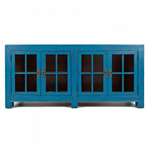 Bufet inferior albastru din lemn de salcam 178 cm Avola Livin Hill