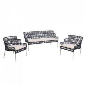Set 2 scaune si banca albastra din sfoara si otel pentru exterior Robyn La Forma